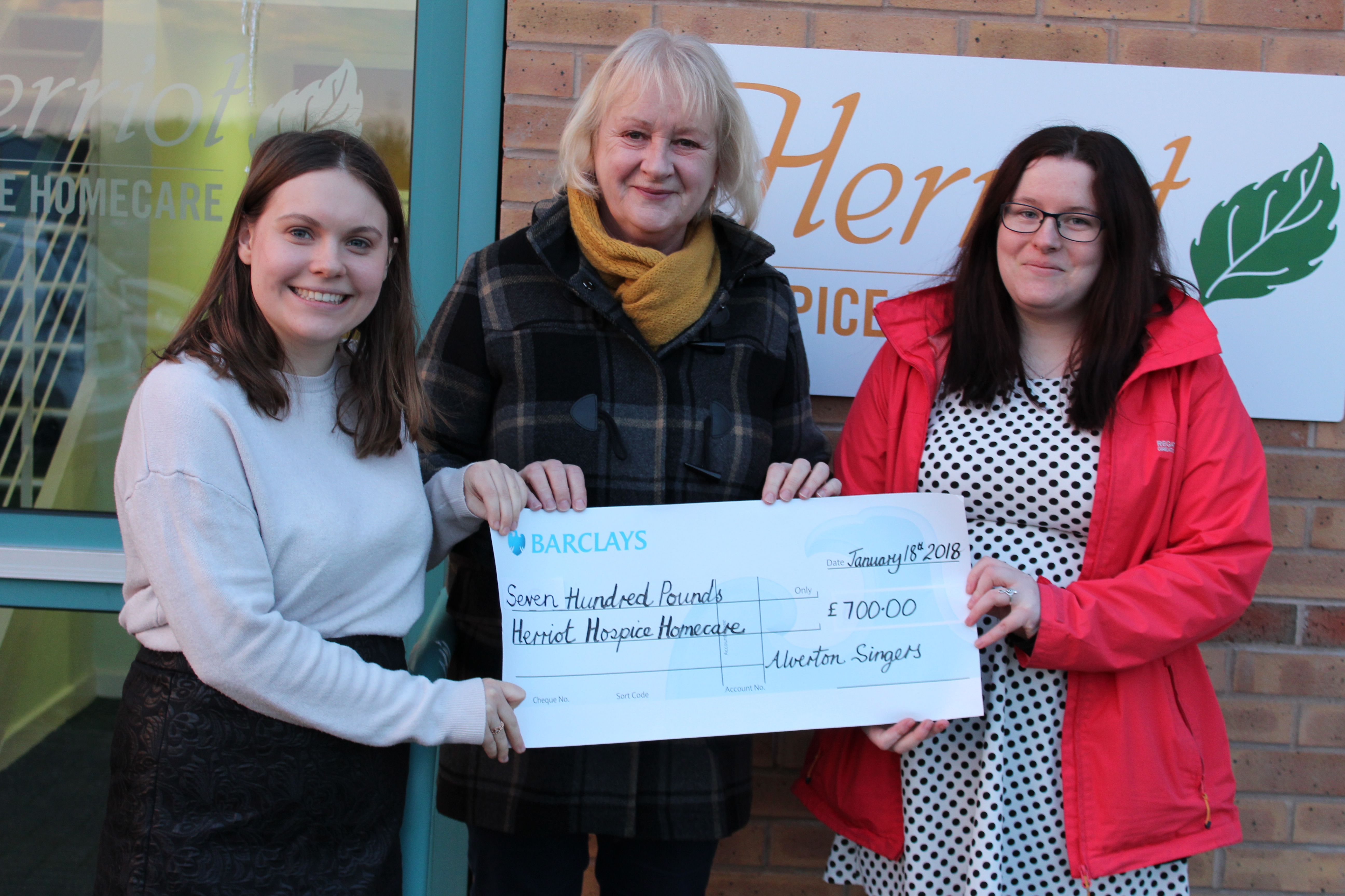 Herriot Hospice Cheque Presentation – January 2018