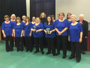 The choir after winning their category in the Don Valley Festival in April 2017. Two of our members also won prizes for solo singing!